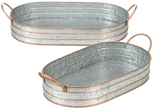 Amazon.com | Oval Tin Tray 2 Metal Butler Trays Galvanized Serving .