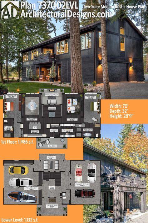 Plan 737002LVL: Two-Suite Modern Rustic Barn House Plan | Rustic .