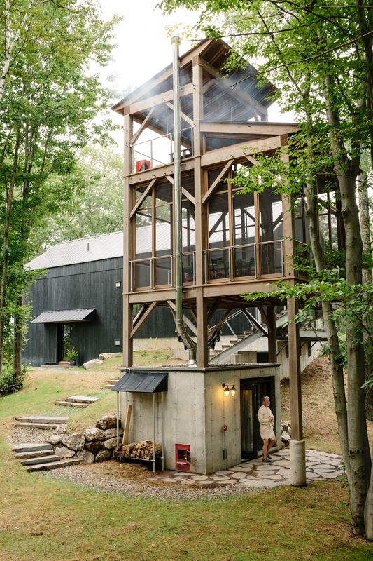 """A Passive House and """"Sauna Tower"""" Join a 19th-Century Barn in the ."""