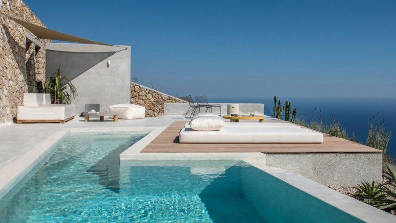 Santorini Holiday Home Inspired With Minimalist Interiors - DigsDi