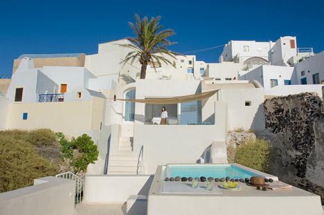 Santorini Island retreat by Kapsimalis Architects features three poo