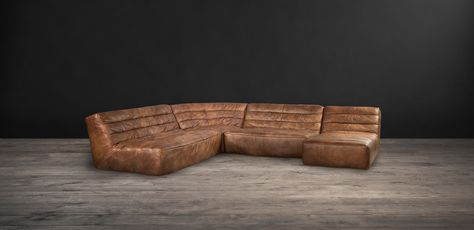 Timothy Oulton Shabby Sectional Sofa - Savage leather from front .