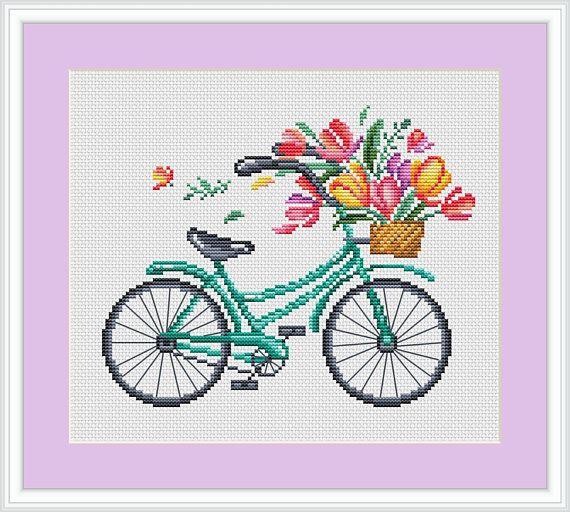 Four seasons bicycles Cross Stitch Pattern Modern cross stitch .