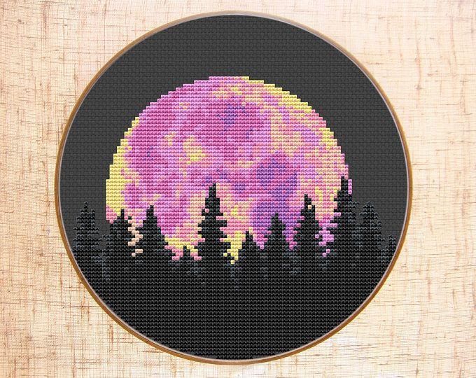 Moon Cross Stitch Pattern Modern Cross Stitch Starry Night sky .