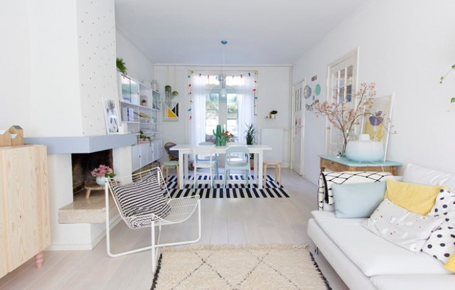 Scandinavian Living Room Design With Pastel Touches - DigsDi