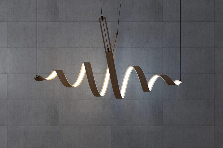 Sculptural Spiral Lamp Collection Made Of Veneer - DigsDi