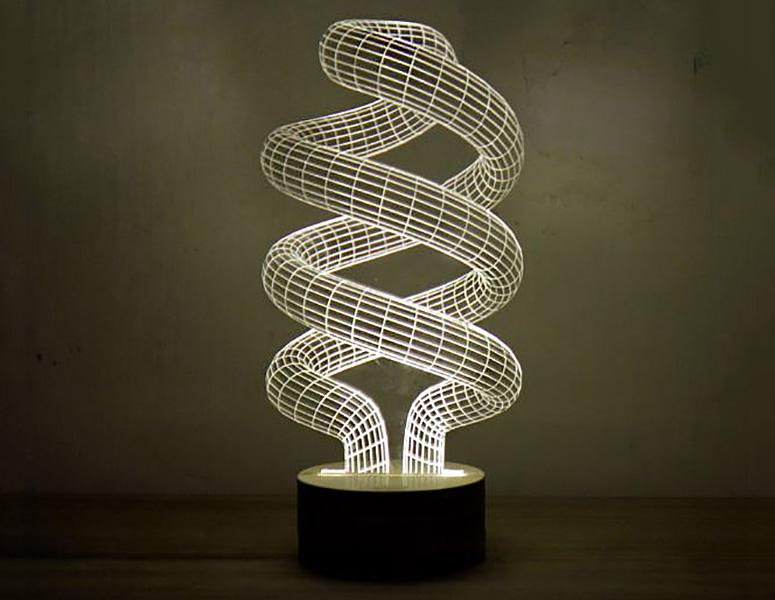 3D Optical Illusion Spiral Bulb LED La
