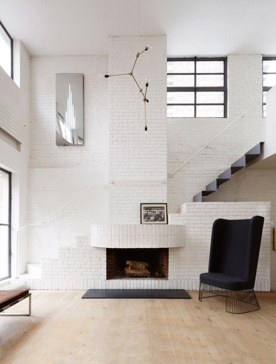 Serene Scandinavian Loft With White Brick Walls And Huge Windows .