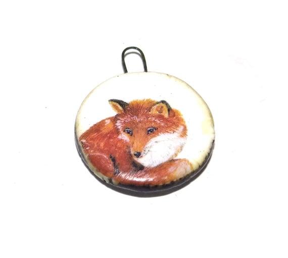 Ceramic Fox Pendant Charm Focal Handmade Porcelain Wildlife | Et