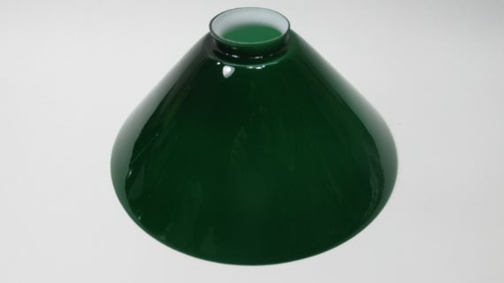 Mid Century Green Cased Glass Shade Large 9-5/8 2-1/8 fitter | Et