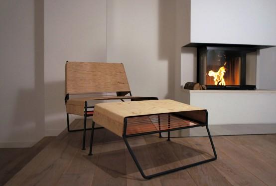 Sibirjak Lounge Chair And Ottoman Made From Birchbark - DigsDi