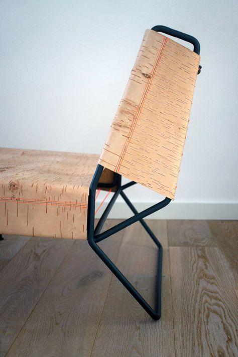 Anastasiya Koshcheeva designs a Lounge Chair made of Birchbark .