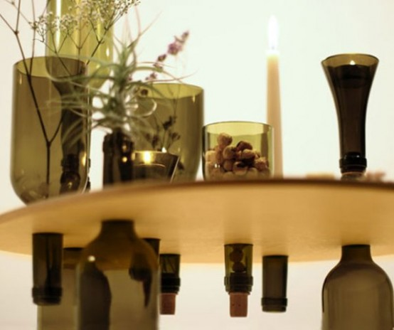 Side Tables Made From Reused Bottles And Wood Tops - DigsDi