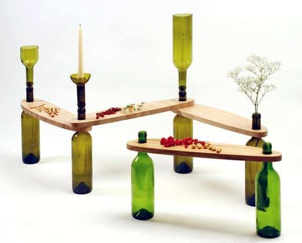 Bottle-Made Wine Tables | Recycled wine bottles, Wine bottle .