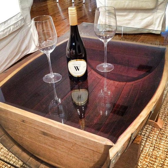 Oak wine barrel coffee table with tempered glass by UpcycledWoodOZ .