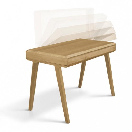 Slim And Minimalist Fino Secretary Desk Of Solid Wood - DigsDi