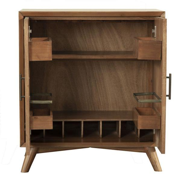 Benjara Wooden Brown Small Bar Cabinet with 2-Doors and Splayed .