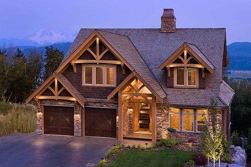 Mountain View Timber Frame Home - Exterior | Timber house, Timber .