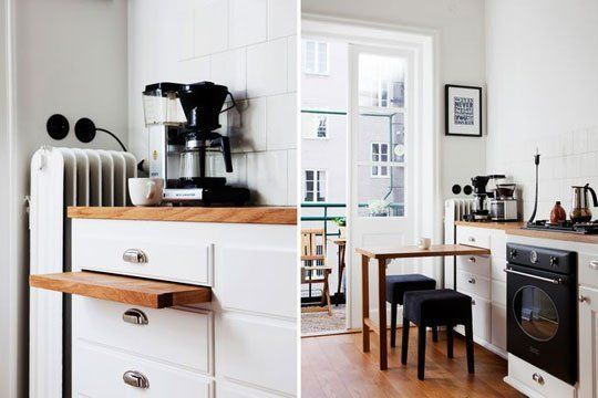 A Smart Dining Solution for Tiny Kitchens: A Pull-Out Tabletop .