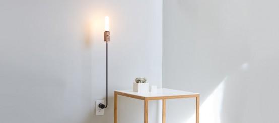 Smart Wall Lamp With Industrial Design: Wald Plug Lamp - DigsDi