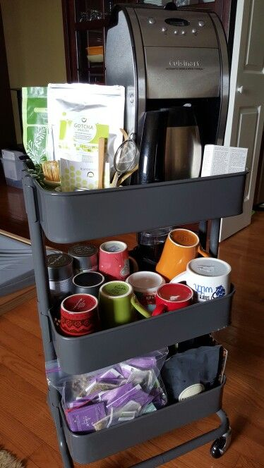 "Ikea Raskog cart - tea and coffee ""supplies"" (loose tea (can't see ."
