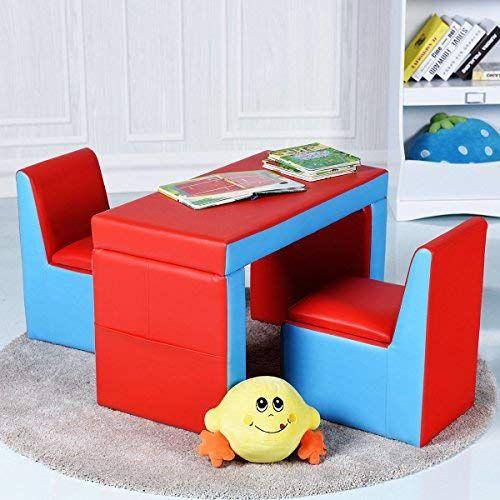 Costzon Kids Sofa 2-IN-1 Multi-Functional Kids Table & Chair .