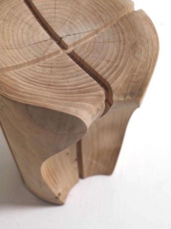 Creative Modern Shapes-Solid Cedar Stools Designed by Karim Rashid .