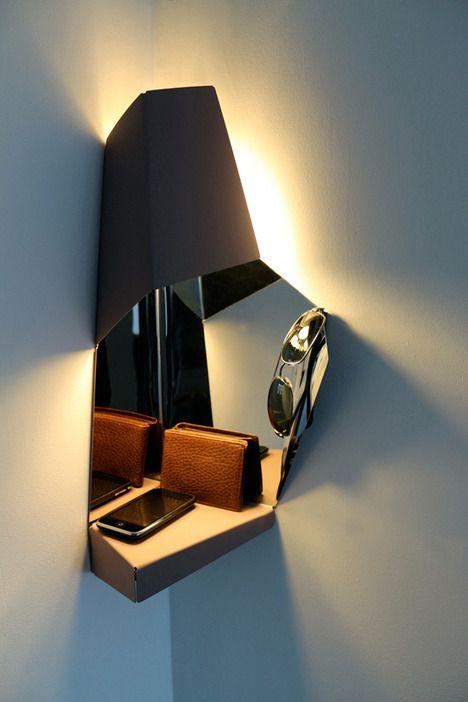 Space-Saving Corner Light For Hallways | Light, Exterior light .