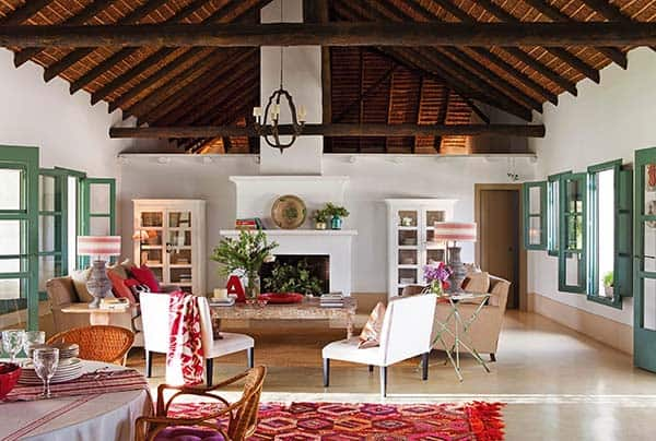 Colorful Andalusian Farmhouse nestled in a Spanish olive gro