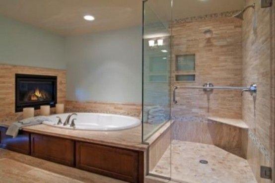 51 Spectacular Bathrooms With Fireplaces | Bathtub design .