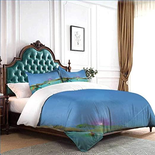 Amazon.com: dsdsgog Bed Sheet Set - Full Art,Abstract Sunrise .