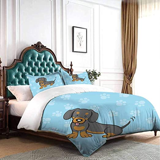 Amazon.com: dsdsgog Home Living Bedding Dachshund,Puppy Cartoon .