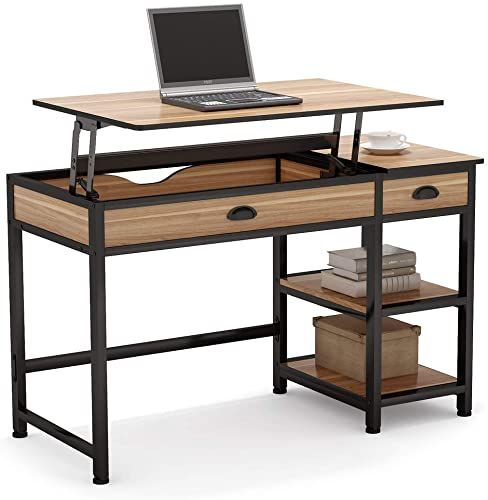 Best Seller Tribesigns Rustic Lift Top Computer Desk Drawers, 47 .