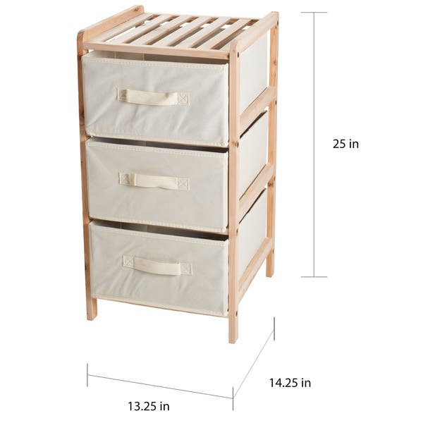 Shop Windsor Home Natural Wood Shelf Organizer with Fabric Storage .