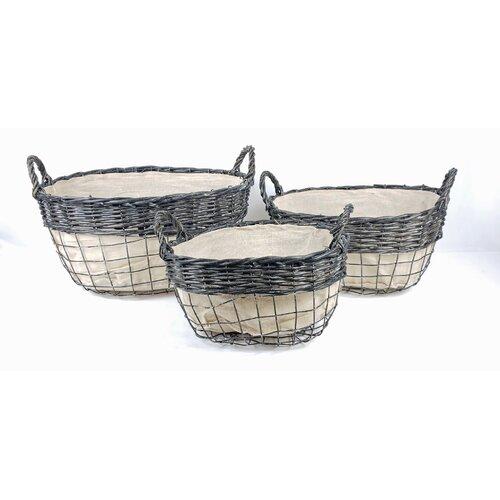 Gracie Oaks Storage 3 Piece Fabric/Wood Basket Set | Wayfa