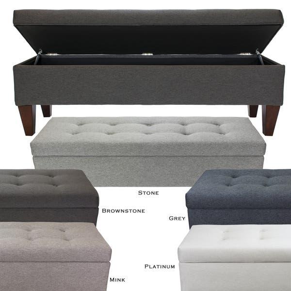 Shop Brooke CORONA Fabric/Wood 10 Button-tufted Long Storage Bench .