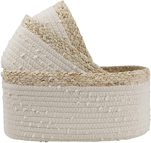 Amazon.com: LA JOLIE MUSE Rope Woven Storage Baskets Set of 3 .