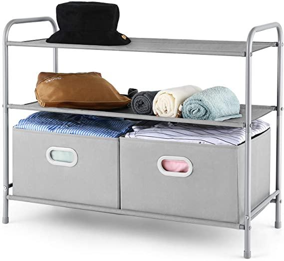 Amazon.com: MaidMAX 3 Tiers Closet Shelf Organizer with 2 Drawers .