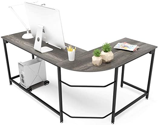 Amazon.com: Teraves Modern L-Shaped Desk Corner Computer Desk Home .