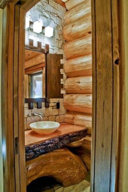 45 Stylish And Cozy Wooden Bathroom Designs | Cabin bathrooms .