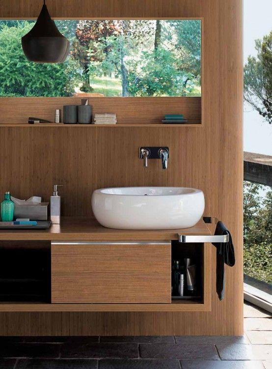 45 Stylish And Cozy Wooden Bathroom Designs | Armarios de baño .