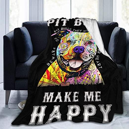 Amazon.com: Ultra Soft Flannel Fleece Blanket Pit Bulls Make Me .