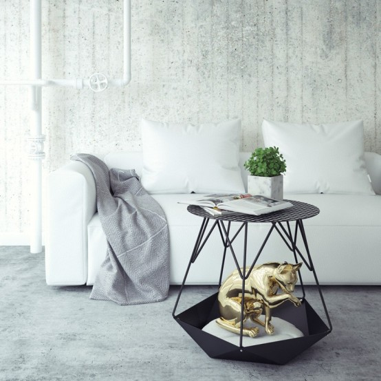 Stylish KRATER Side Table With A Space For Cats - DigsDi