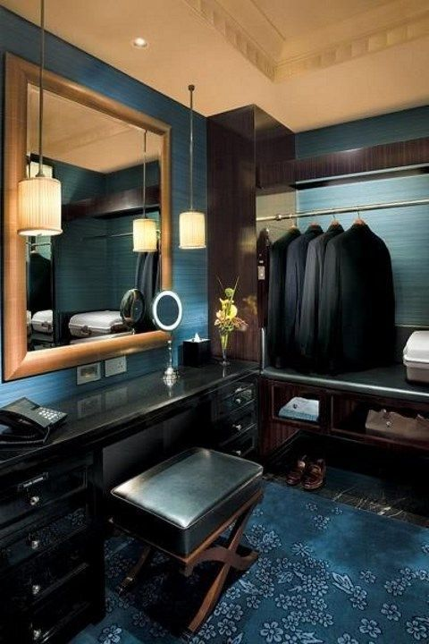 Practical And Stylish Masculine Closets | Hotel interior design .