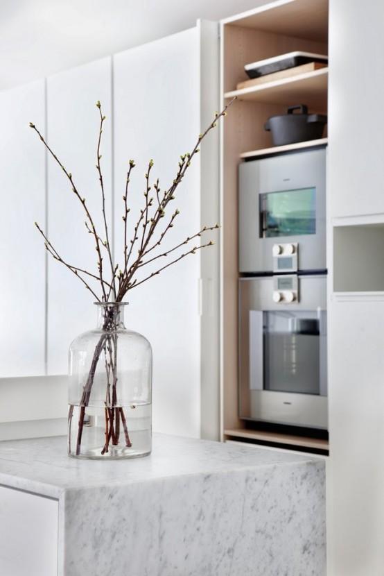Stylish Minimalist Kitchen With Bright Yellow Accents - DigsDi