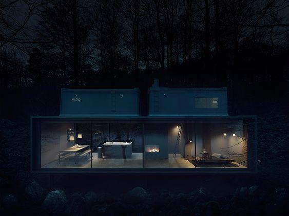 Stylish Minimalist Prefab Vipp Home In Dark Shades | プレハブの家 .