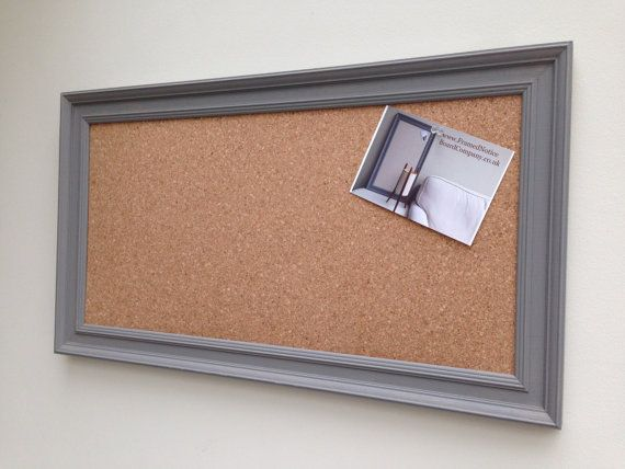 Grey Pin Board. A large cork memo board with hand built frame .