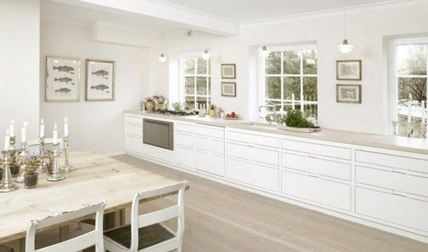 High gloss white kitchen with windows on one wall overlooking the .