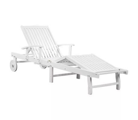 vidaXL Sun Lounger with Wheels Solid Acacia Wood White   vidaXL.c