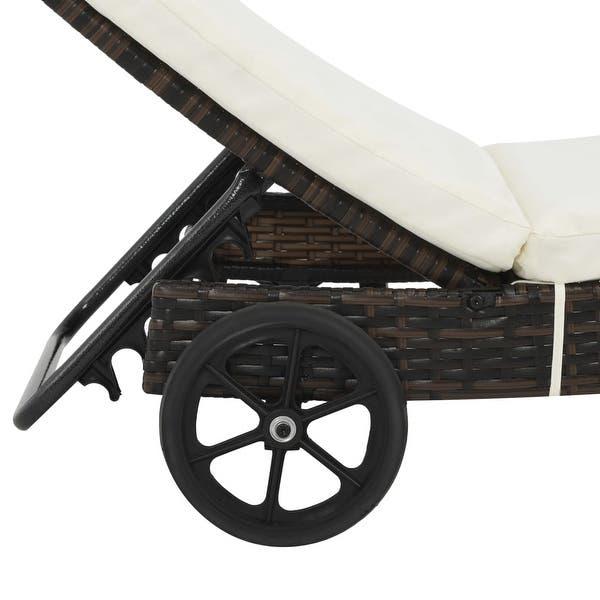 Shop vidaXL Sun Lounger with Wheels and Cushion Poly Rattan Brown .